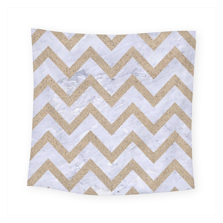 CHEVRON9 WHITE MARBLE & SAND (R) Square Tapestry (Small)