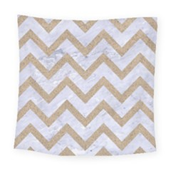 Chevron9 White Marble & Sand (r) Square Tapestry (large)