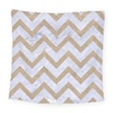 CHEVRON9 WHITE MARBLE & SAND (R) Square Tapestry (Large) View1
