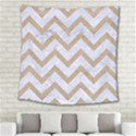CHEVRON9 WHITE MARBLE & SAND (R) Square Tapestry (Large) View2