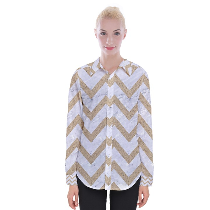 CHEVRON9 WHITE MARBLE & SAND (R) Womens Long Sleeve Shirt
