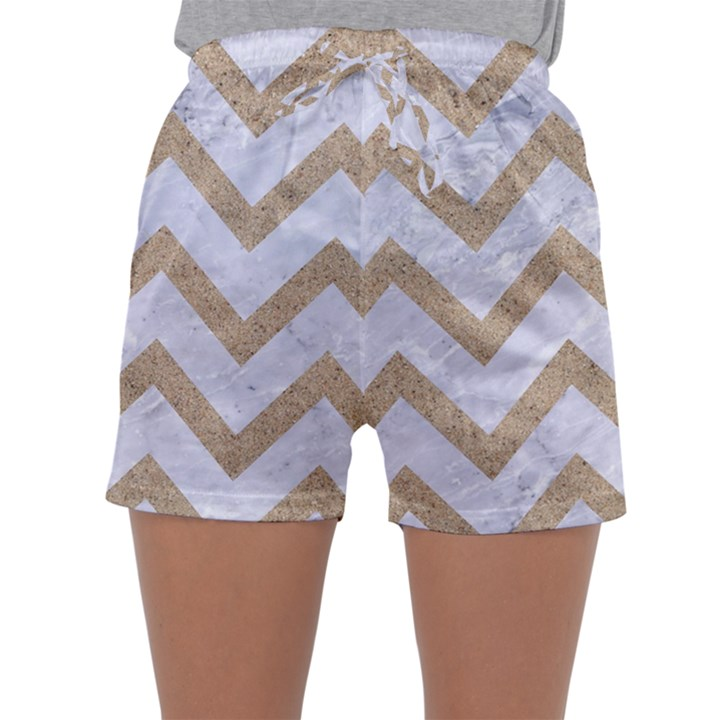 CHEVRON9 WHITE MARBLE & SAND (R) Sleepwear Shorts