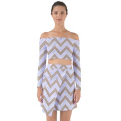 Chevron9 White Marble & Sand (r) Off Shoulder Top With Skirt Set