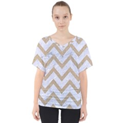 Chevron9 White Marble & Sand (r) V Neck Dolman Drape Top