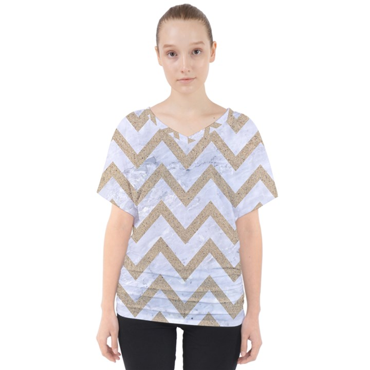 CHEVRON9 WHITE MARBLE & SAND (R) V-Neck Dolman Drape Top