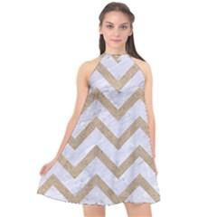 Chevron9 White Marble & Sand (r) Halter Neckline Chiffon Dress
