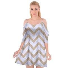 Chevron9 White Marble & Sand (r) Cutout Spaghetti Strap Chiffon Dress