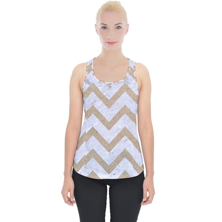 CHEVRON9 WHITE MARBLE & SAND (R) Piece Up Tank Top