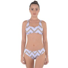 Chevron9 White Marble & Sand (r) Criss Cross Bikini Set