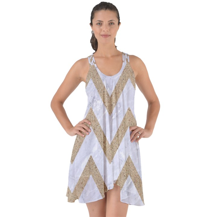 CHEVRON9 WHITE MARBLE & SAND (R) Show Some Back Chiffon Dress