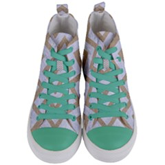 Chevron9 White Marble & Sand (r) Women s Mid Top Canvas Sneakers