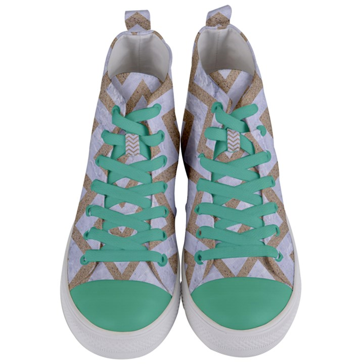 CHEVRON9 WHITE MARBLE & SAND (R) Women s Mid-Top Canvas Sneakers