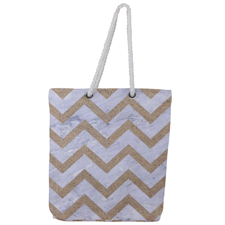 CHEVRON9 WHITE MARBLE & SAND (R) Full Print Rope Handle Tote (Large)