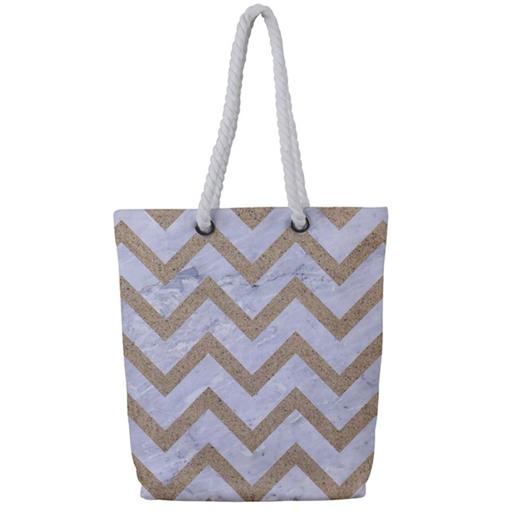 CHEVRON9 WHITE MARBLE & SAND (R) Full Print Rope Handle Tote (Small)