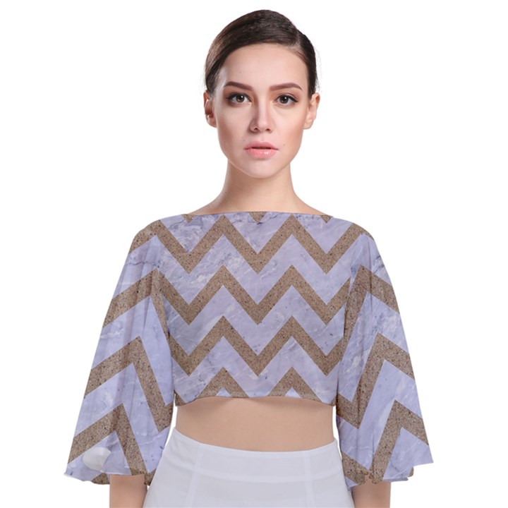 CHEVRON9 WHITE MARBLE & SAND (R) Tie Back Butterfly Sleeve Chiffon Top