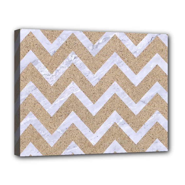 CHEVRON9 WHITE MARBLE & SAND Canvas 14  x 11