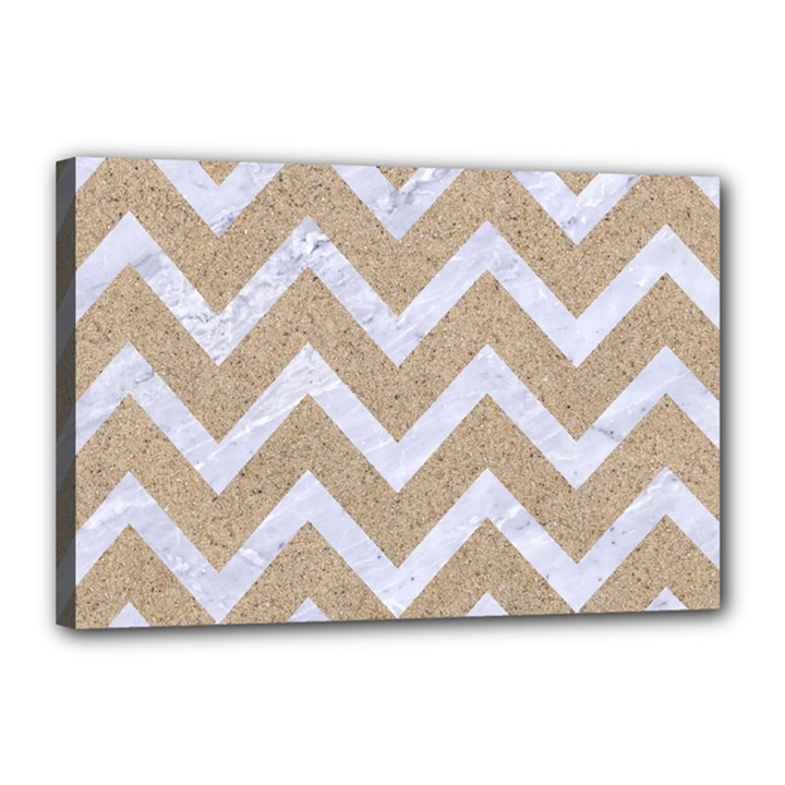 CHEVRON9 WHITE MARBLE & SAND Canvas 18  x 12