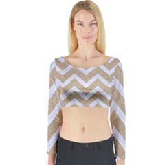 Chevron9 White Marble & Sand Long Sleeve Crop Top