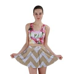 Chevron9 White Marble & Sand Mini Skirt