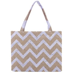 Chevron9 White Marble & Sand Mini Tote Bag