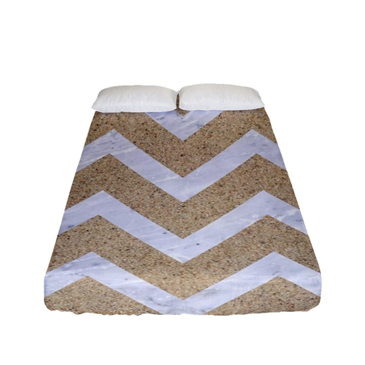 CHEVRON9 WHITE MARBLE & SAND Fitted Sheet (Full/ Double Size)