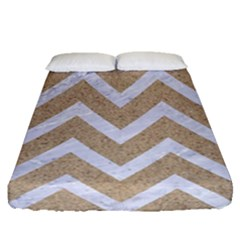 Chevron9 White Marble & Sand Fitted Sheet (queen Size)