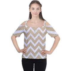 Chevron9 White Marble & Sand Cutout Shoulder Tee