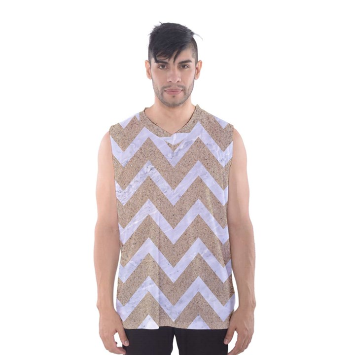 CHEVRON9 WHITE MARBLE & SAND Men s Basketball Tank Top