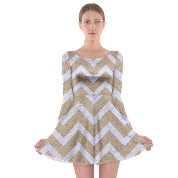 CHEVRON9 WHITE MARBLE & SAND Long Sleeve Skater Dress