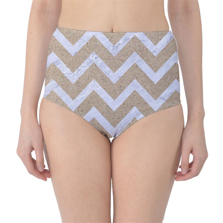 CHEVRON9 WHITE MARBLE & SAND High-Waist Bikini Bottoms