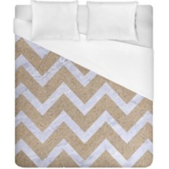 Chevron9 White Marble & Sand Duvet Cover (california King Size)