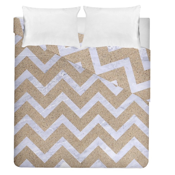 CHEVRON9 WHITE MARBLE & SAND Duvet Cover Double Side (Queen Size)