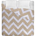 CHEVRON9 WHITE MARBLE & SAND Duvet Cover Double Side (King Size) View1