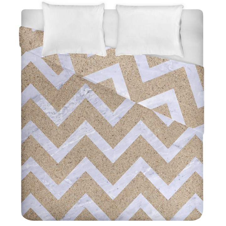 CHEVRON9 WHITE MARBLE & SAND Duvet Cover Double Side (California King Size)
