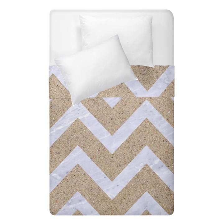 CHEVRON9 WHITE MARBLE & SAND Duvet Cover Double Side (Single Size)