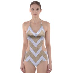 Chevron9 White Marble & Sand Cut Out One Piece Swimsuit