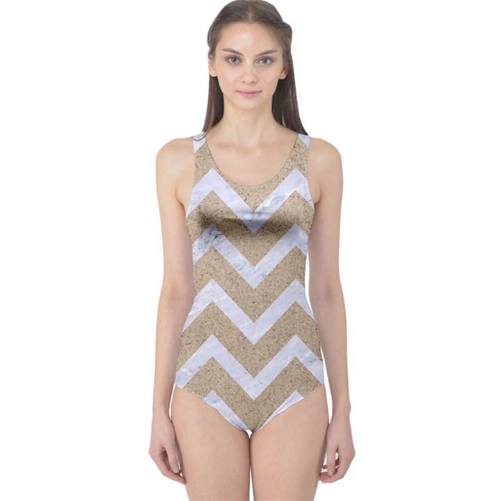 CHEVRON9 WHITE MARBLE & SAND One Piece Swimsuit