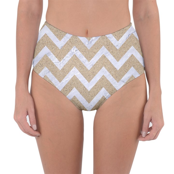 CHEVRON9 WHITE MARBLE & SAND Reversible High-Waist Bikini Bottoms