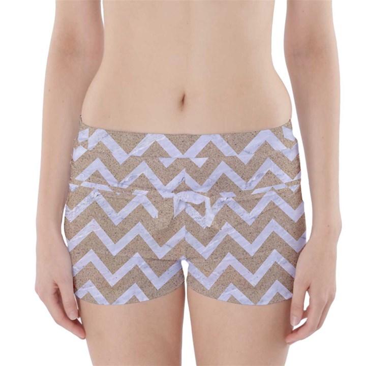 CHEVRON9 WHITE MARBLE & SAND Boyleg Bikini Wrap Bottoms