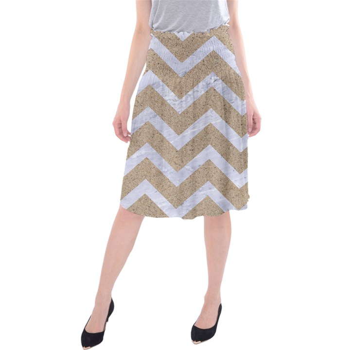 CHEVRON9 WHITE MARBLE & SAND Midi Beach Skirt
