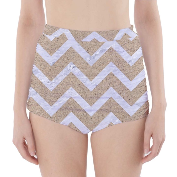 CHEVRON9 WHITE MARBLE & SAND High-Waisted Bikini Bottoms
