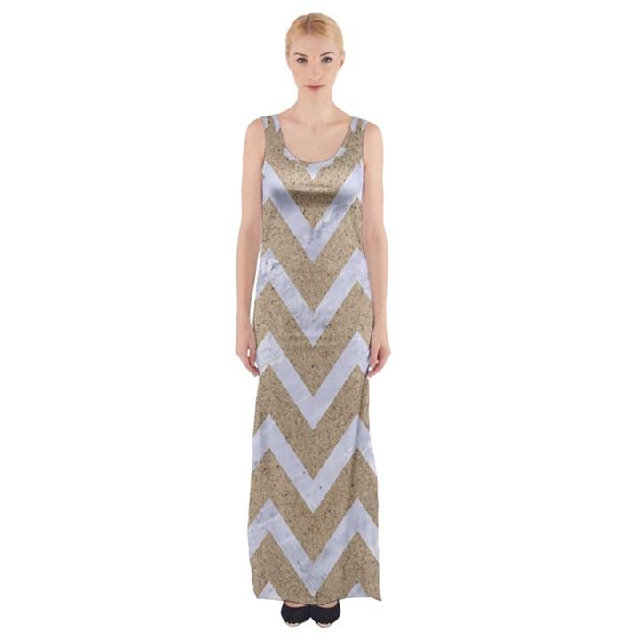 CHEVRON9 WHITE MARBLE & SAND Maxi Thigh Split Dress