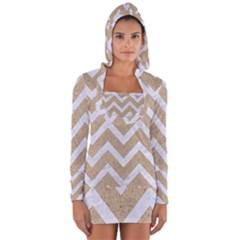 Chevron9 White Marble & Sand Long Sleeve Hooded T Shirt