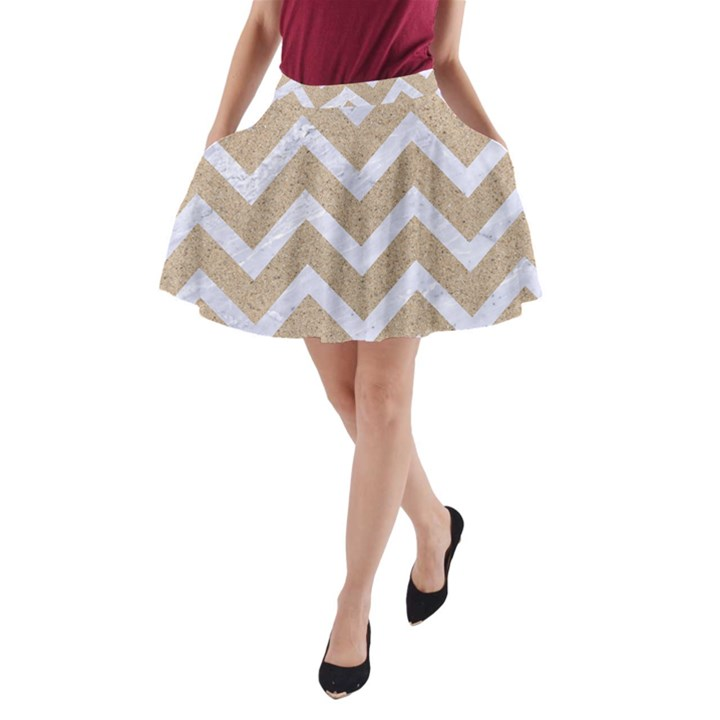 CHEVRON9 WHITE MARBLE & SAND A-Line Pocket Skirt