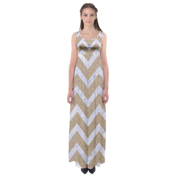 CHEVRON9 WHITE MARBLE & SAND Empire Waist Maxi Dress