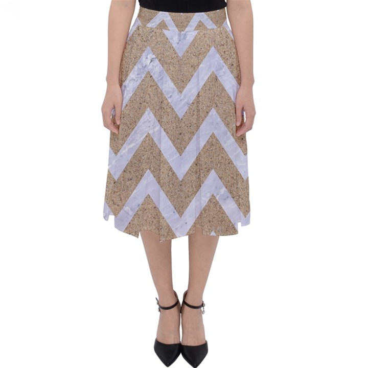 CHEVRON9 WHITE MARBLE & SAND Folding Skater Skirt