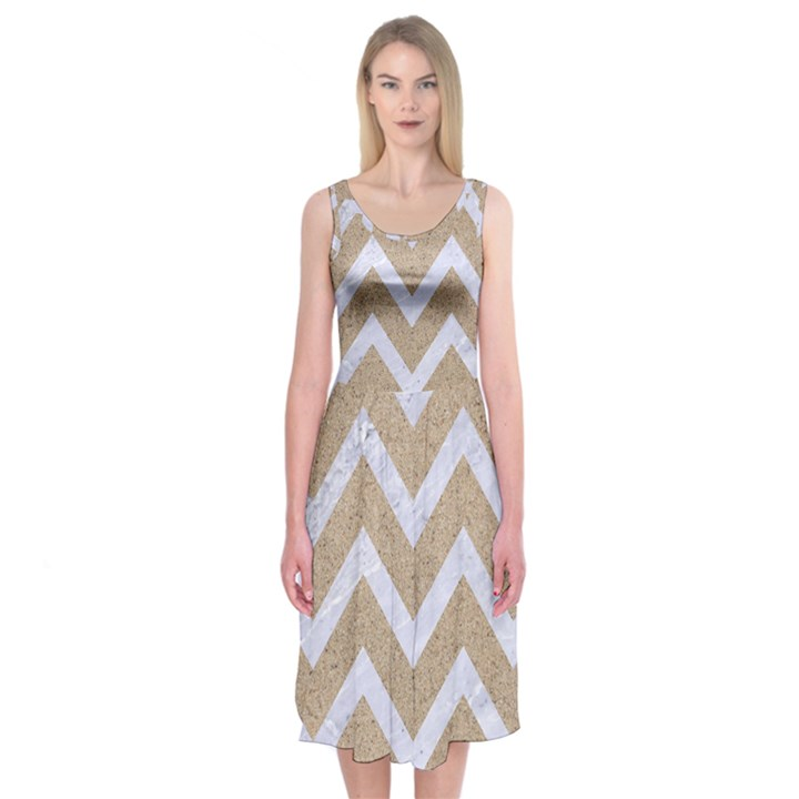 CHEVRON9 WHITE MARBLE & SAND Midi Sleeveless Dress