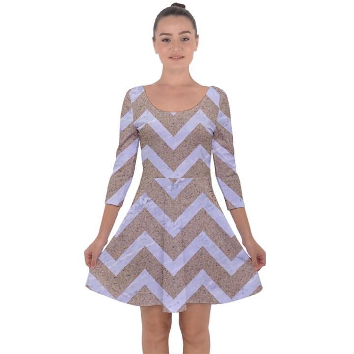 CHEVRON9 WHITE MARBLE & SAND Quarter Sleeve Skater Dress