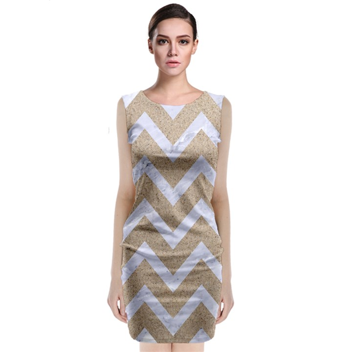 CHEVRON9 WHITE MARBLE & SAND Classic Sleeveless Midi Dress