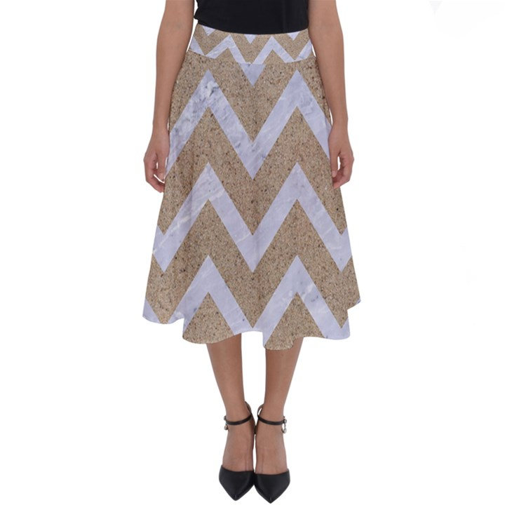 CHEVRON9 WHITE MARBLE & SAND Perfect Length Midi Skirt
